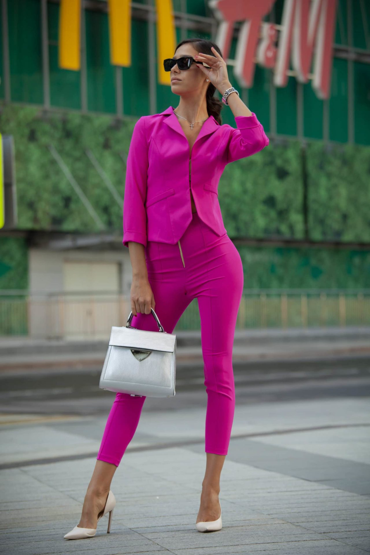 Fuchsia set with cigarette trousers