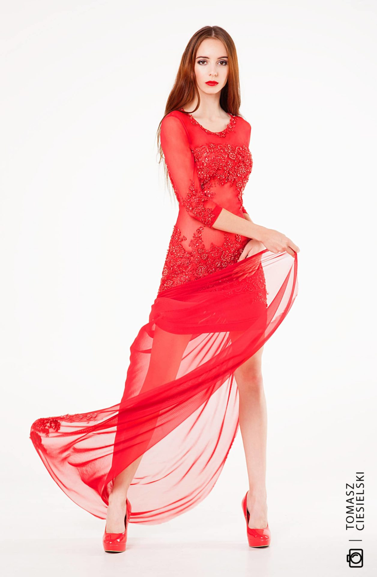 Red lace with a long train