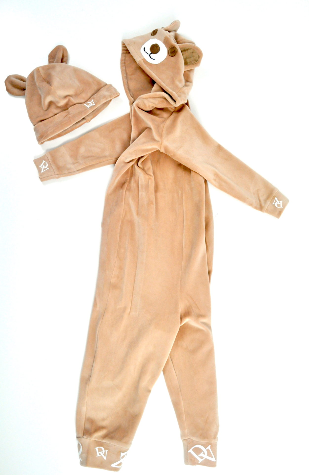 Jumpsuit for children – Teddy bear in beige. Cap for free
